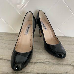 LK Bennett Classic Black Almond Toe Pump heel